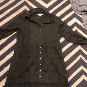 Olive green Diane von Furstenberg shirt dress.